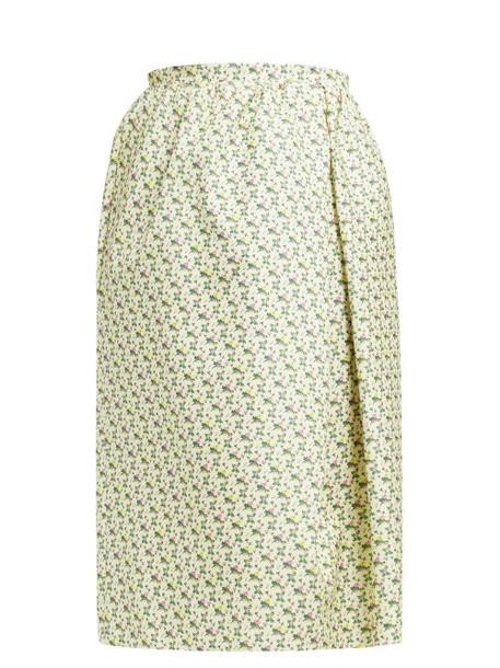 Rochas - Omorus Floral Print Silk Skirt - Womens - Green Multi