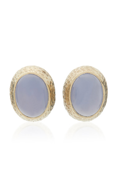 Sorab & Roshi Hammered 18K Gold and Chalcedony Earrings in multi