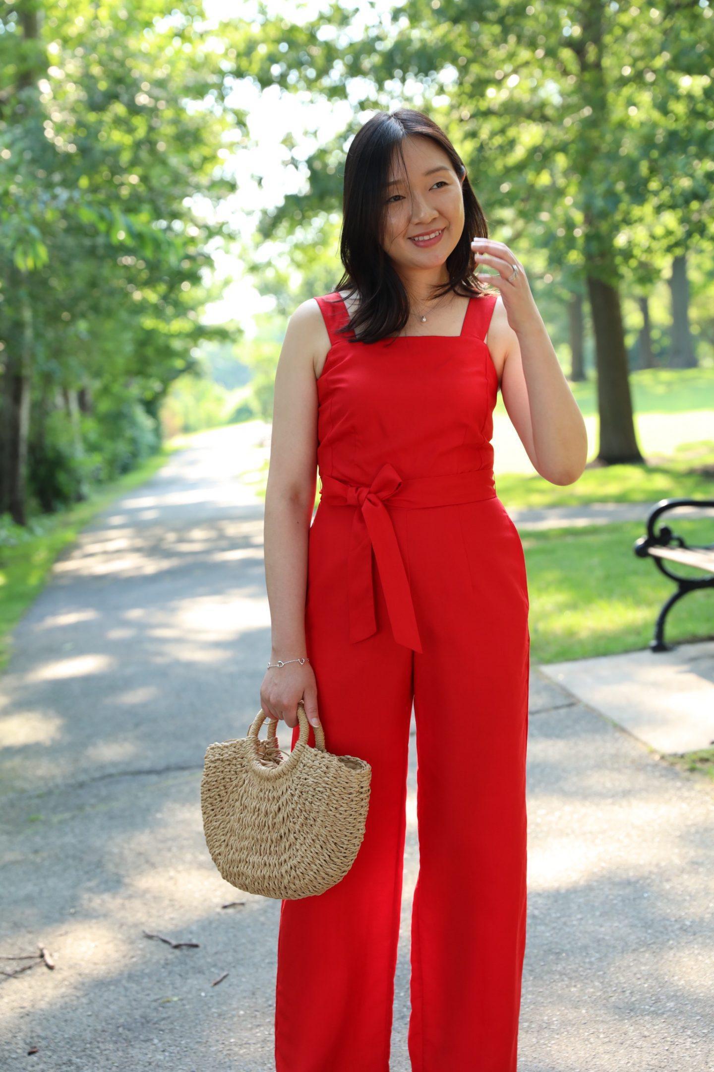 whatjesswore blogger jumpsuit jacket bag shoes red jumpsuit