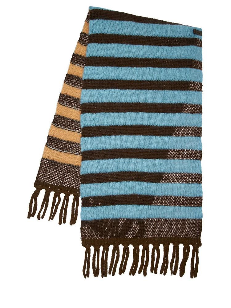 MONCLER GENIUS Striped Alpaca Blend Knit Maxi Scarf in blue / brown