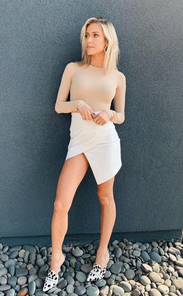 top nude nude top bodysuit mini skirt skirt kristin cavallari asymmetrical skirt