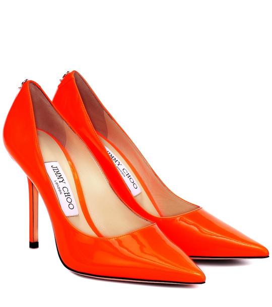 Jimmy Choo Love 100 patent leather pumps in orange