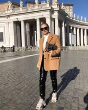 pants,black pants,white sneakers,capri pants,white sweater,turtleneck sweater,camel coat,oversized coat,fendi,bag