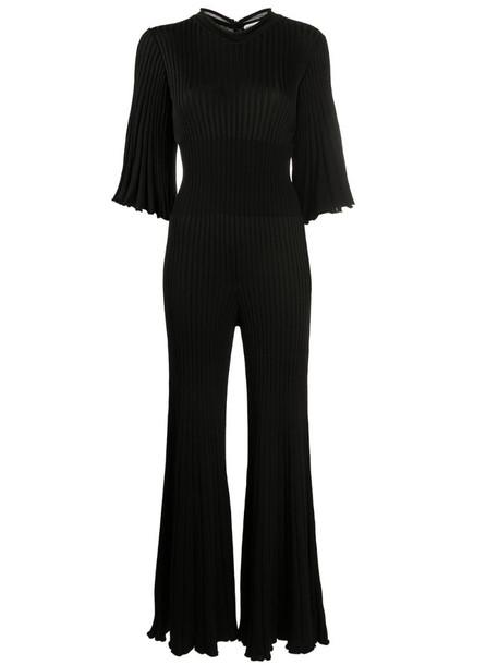 Bottega Veneta ruffled pleated jumpsuit in black