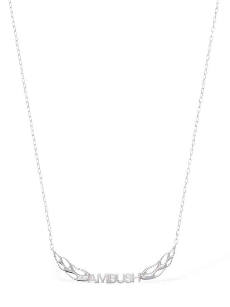 AMBUSH Flame Logo Chain Necklace in silver