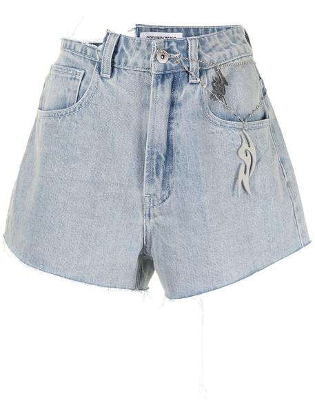 Ground Zero high-rise distressed denim shorts - Blue