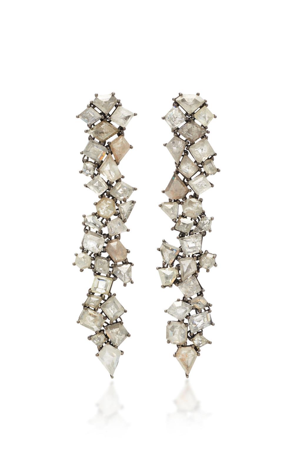 Sylva & Cie 18K White Gold Diamond Earrings in grey