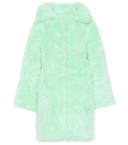 Balenciaga Faux fur coat in green