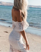 dress,set,white,lace,off the shoulder,crop tops,midi skirt,casscade,summer