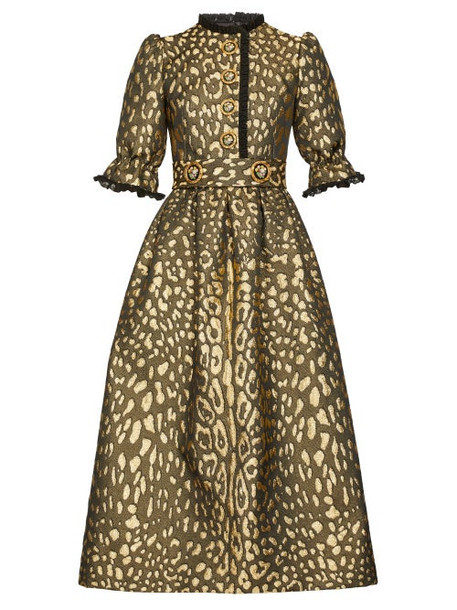 Dolce & Gabbana - Puffed Sleeve Leopard Brocade Midi Dress - Womens - Leopard