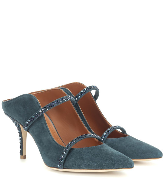 Malone Souliers Maureen Crystal suede mules in blue