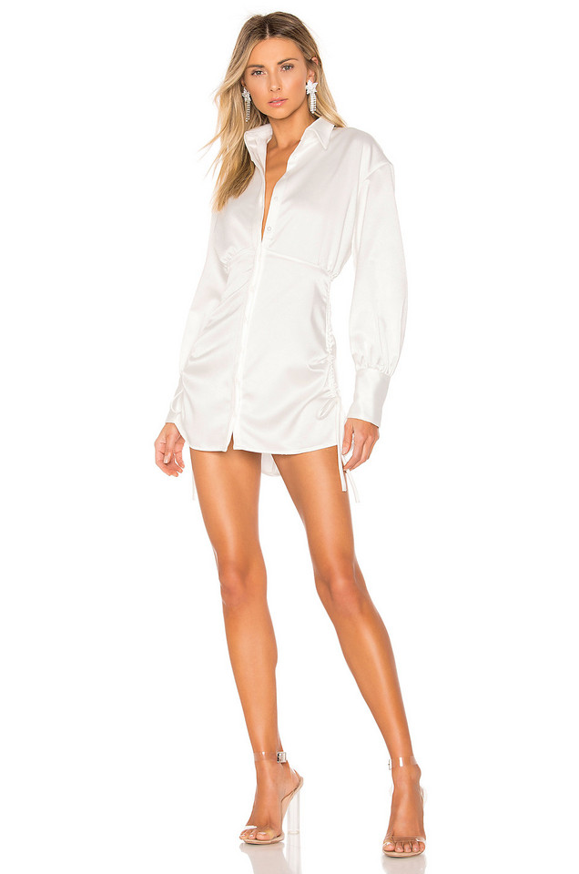 DANIELLE GUIZIO Ruched Shirt Dress in white