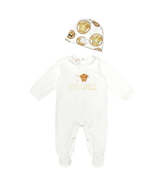 Versace Kids Baby onesie and hat set in white