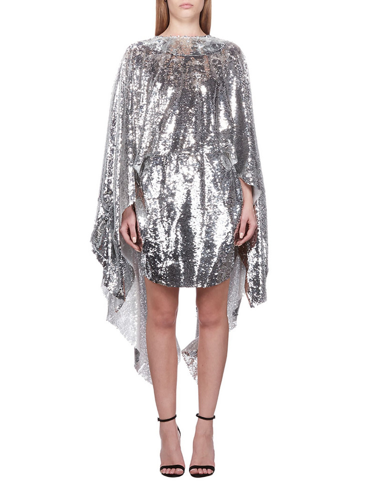 Paula Knorr Sequined Asymmetric Dress in silver / bianco