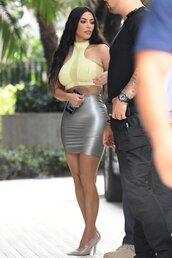 skirt,silver,metallic,mini skirt,sexy,kim kardashian,kardashians,celebrity,crop tops,top