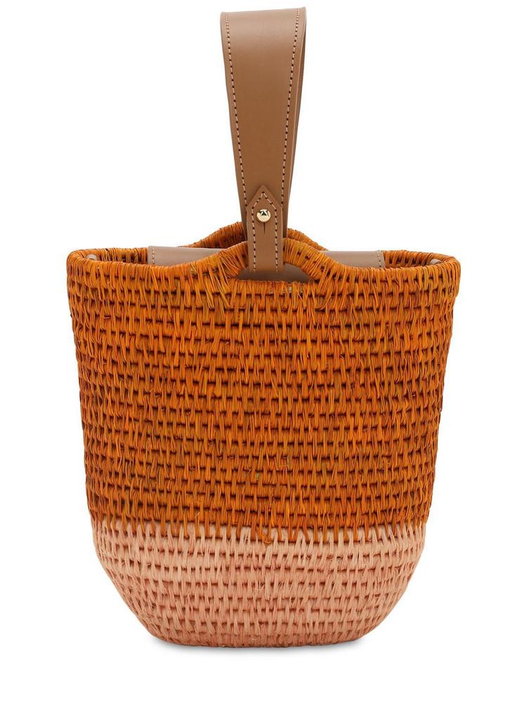 KHOKHO Zandi Raffia Bucket Bag in orange / pink