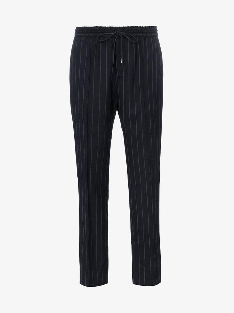 Juun.J mid rise pinstripe trousers in blue