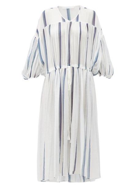 Love Binetti - Monaco Balloon-sleeve Striped Cotton Dress - Womens - White Stripe