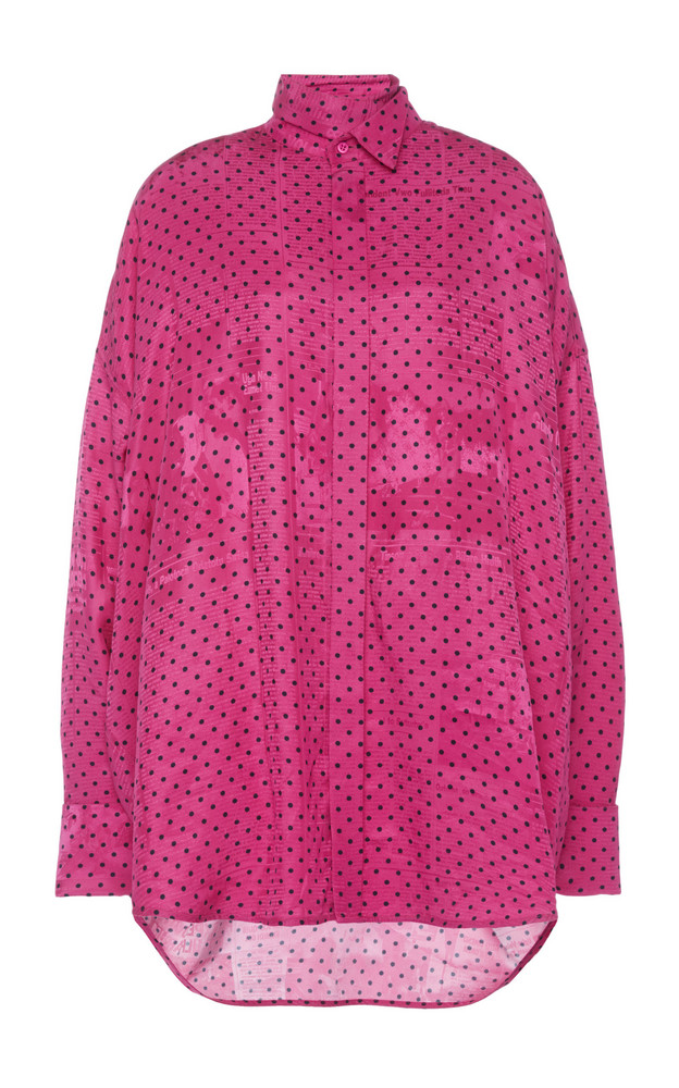 Balenciaga Oversized Printed Jacquard Tie-Neck Top in pink