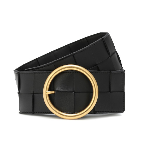 Bottega Veneta Intrecciato leather belt in black