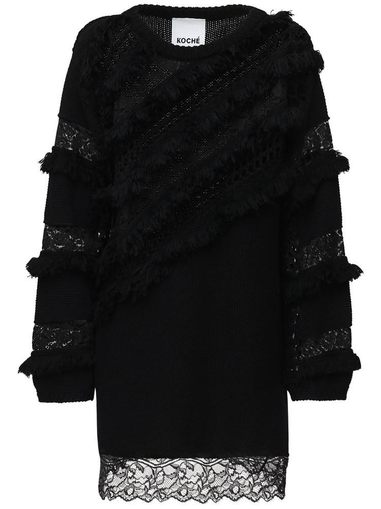 KOCHE' Cotton & Wool Knit Mini Dress W/ Lace in black