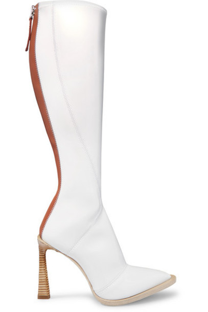 Fendi - Two-tone Glossed-neoprene Knee Boots - White