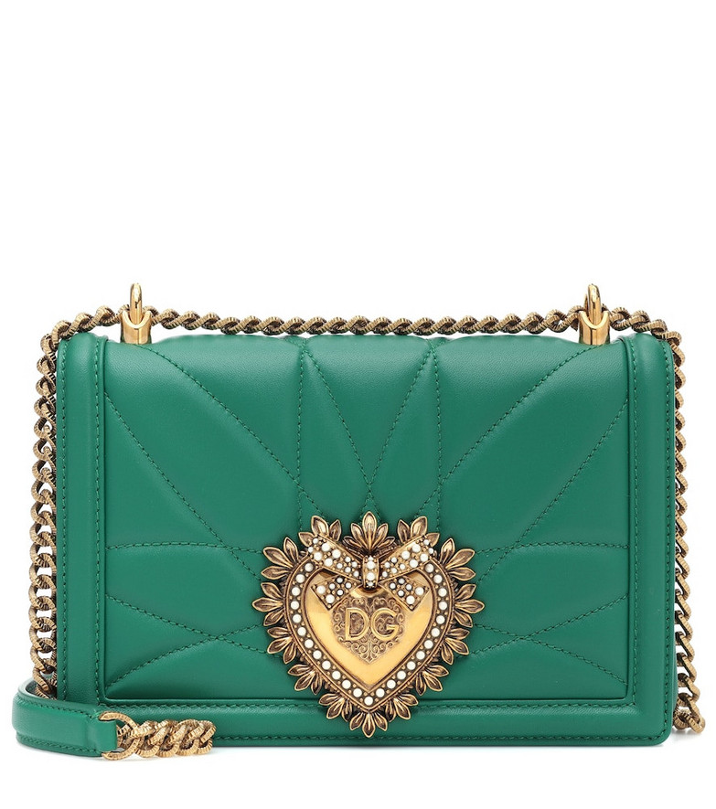 Dolce & Gabbana Devotion Medium leather shoulder bag in green