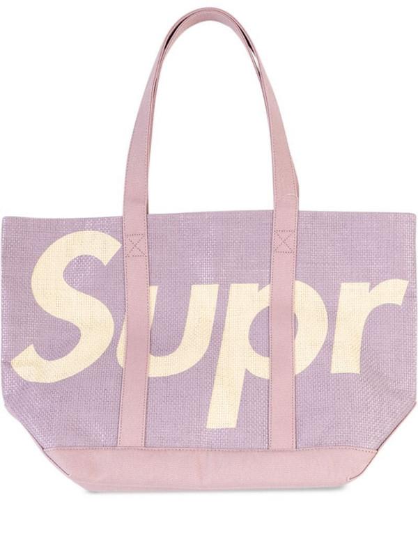 Supreme logo raffia tote bag in purple
