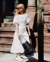bag,bucket bag,black bag,white sneakers,maxi dress,white dress