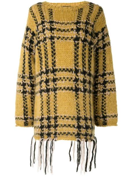 Undercover tassel-hem plaid sweater in yellow