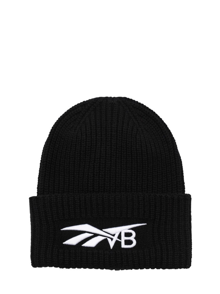 REEBOK X VICTORIA BECKHAM Embroidered Wool & Cashmere Knit Beanie in black