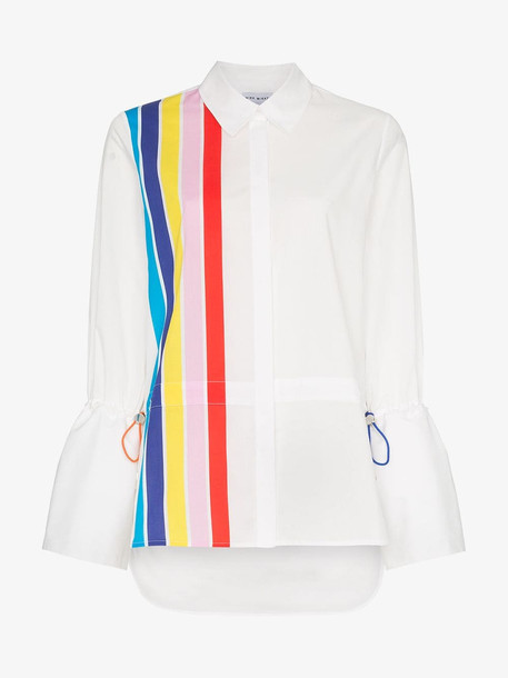 Mira Mikati stripe front shirt with drawstring pulls in white