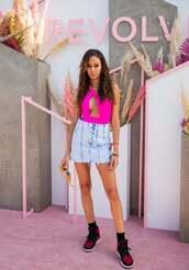 skirt,denim,denim skirt,joan smalls,model off-duty,festival outfit,coachella,coachella outfit,pink,pink swimwear,one piece swimsuit,top,bodysuit