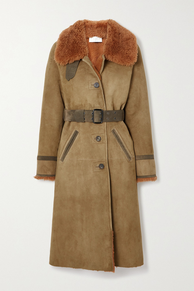 CHLOÉ CHLOÉ - Belted Shearling-trimmed Suede Coat - Green