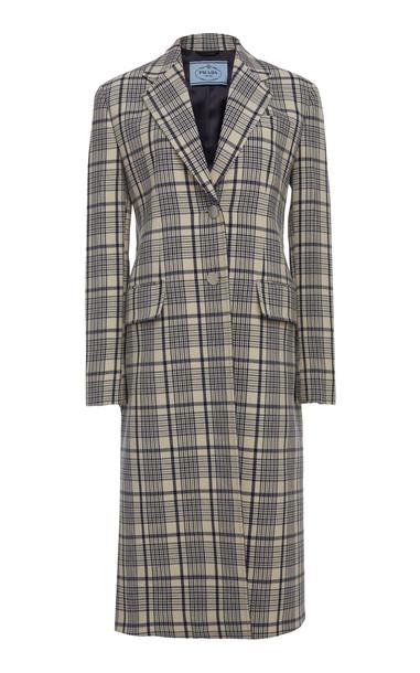 Prada Plaid Wool Single Breasted Overcoat in multi