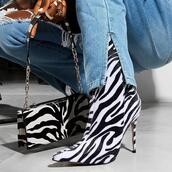 shoes,ankle boots,black and white,zebra print,cone heel,fashion