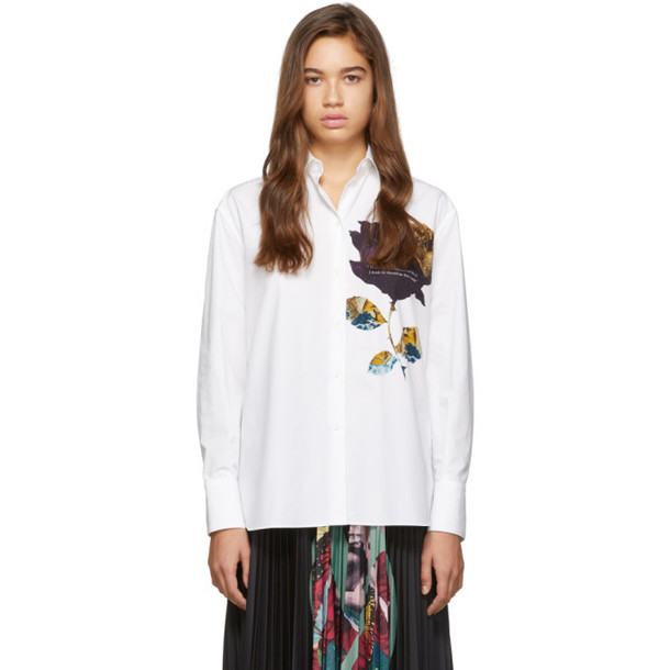 Valentino White Rose Print Dress Shirt