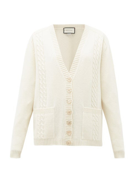 Gucci - Gg-embroidered Cabled-wool Cardigan - Womens - Cream