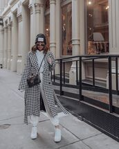 coat,long coat,home decor,houndstooth,h&m,white sneakers,tracksuit,joggers,hoodie,gucci bag,beanie