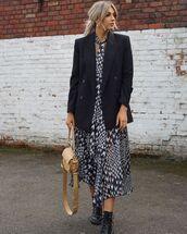 dress,asymmetrical dress,midi dress,black and white,topshop,black blazer,black boots,bag