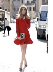 dress,chiara ferragni,red dress,red