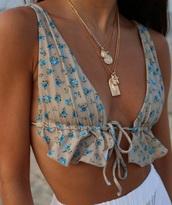 swimwear,floral,bikini,bikini top,ruffle,beige,blue