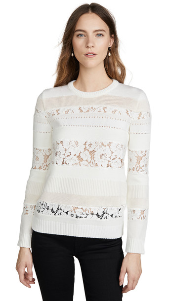 No. 21 Lace Striped Sweater in cream