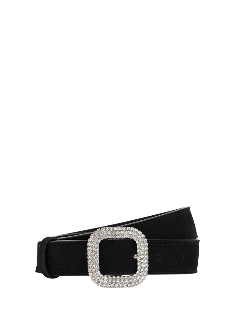 KATE CATE 30mm Suede Belt W/ Swarovski Crystals in black