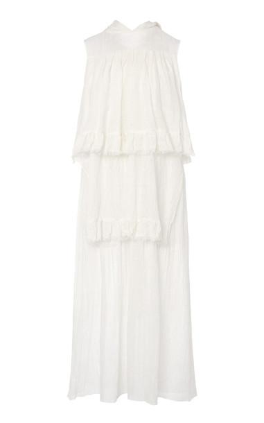 Prada Tiered Sleeveless Silk Midi Dress Size: 36 in white