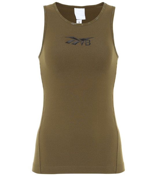 Reebok x Victoria Beckham Logo stretch-jersey tank top in green