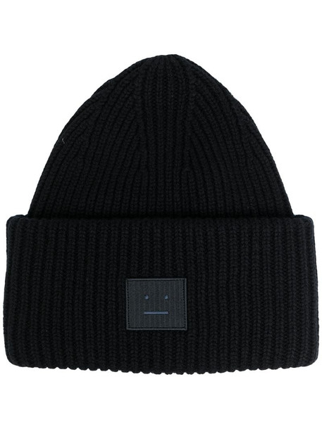 Acne Studios Face patch ribbed beanie in black