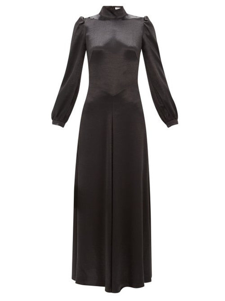 Bella Freud - Ophelia Tie Back Satin Dress - Womens - Black