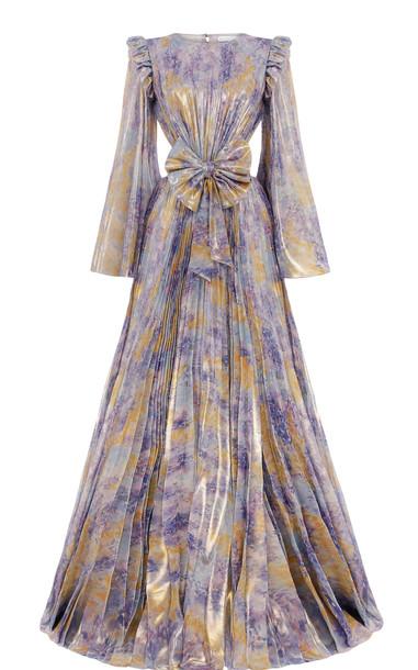 Raisa Vanessa Pleated Chiffon Maxi Dress in print
