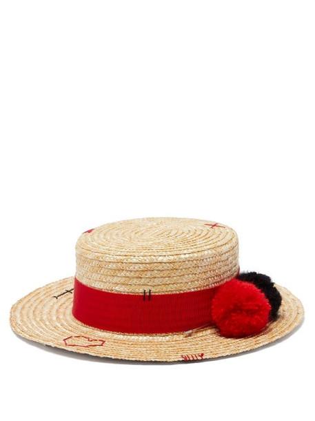 Ruslan Baginskiy - Pompom Trim Straw Boater Hat - Womens - Beige